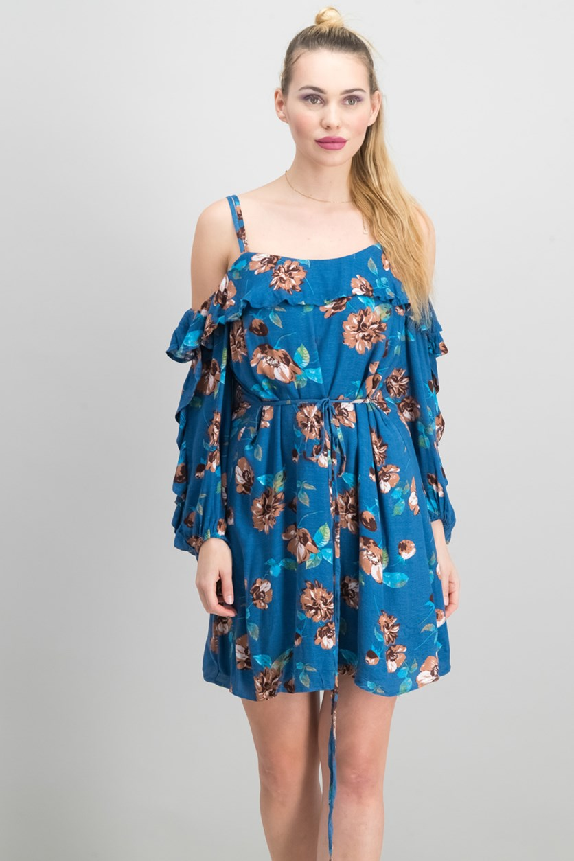 Bella Ruffled Cold-Shoulder Dress, Navy