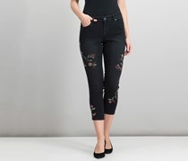 Style & Co Petite Embroidered Slim-Leg Ankle Jeans, Black