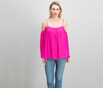 Off-The-Shoulder Peasant Top, Electric Pink