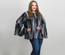 Vince Camuto Plus Size Stripe Bell Sleeve Top, Rich Black