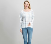 Two by Vince Camuto Womens Plaid Ruffle Pullover Top, Light Cream/Off white