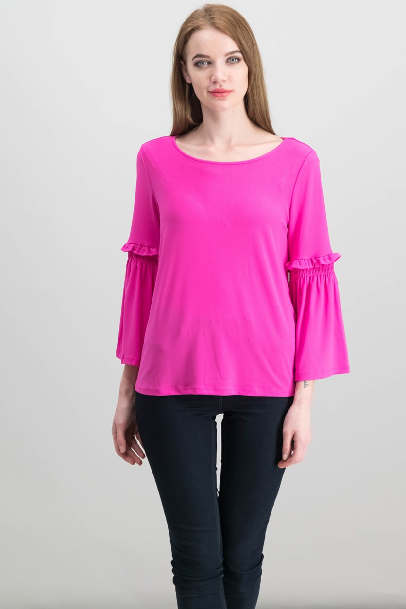 Women's Bell Sleeve Crepe Knit Top, Fuchsia Pink