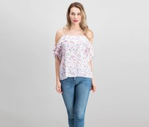 CeCe Ruffled Cold-Shoulder Top, Light Pink/Purple