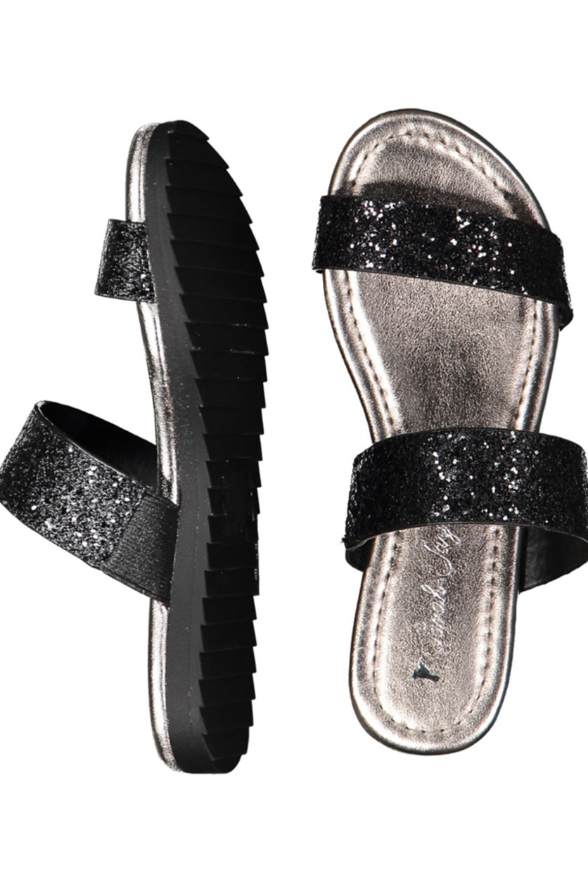 Ruth Glitter Sandals, Black/Gray
