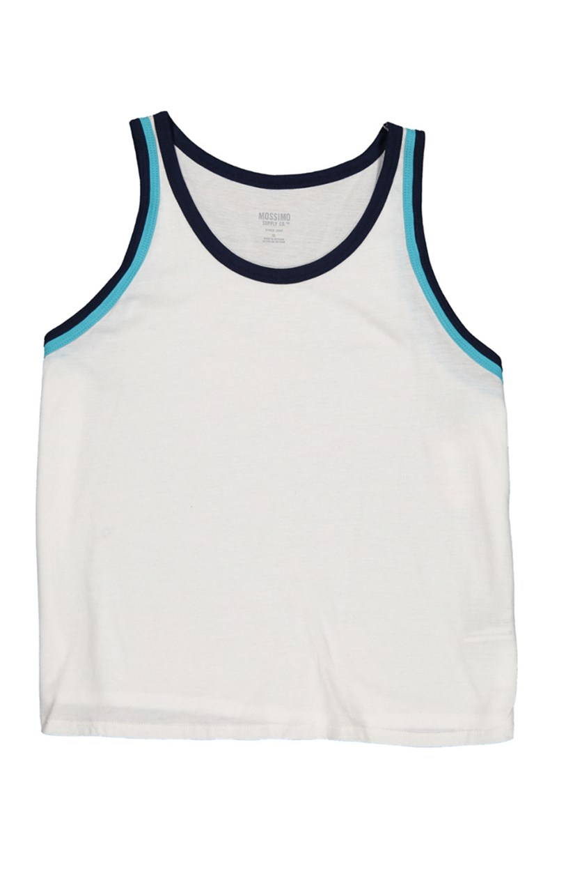 Women's Leisure Tank Top, White/Navy