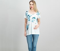 Lucky Brand Floral-Print T-Shirt, White/Blue Combo
