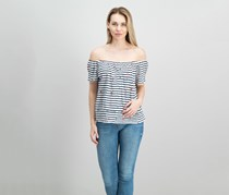 Women Stripe Off the Shoulder Top, Navy/White