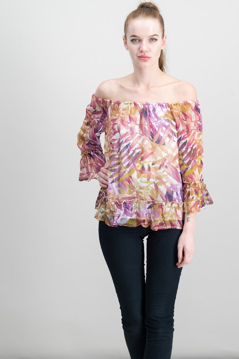 Women's Palm Print Off The Shoulder Top, Purple Combo