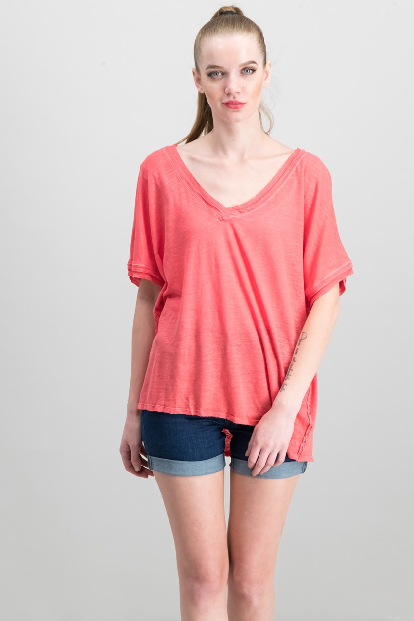 Take Me Raw-Edge Contrast T-Shirt, Coral
