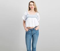 Free People Wandering Skies Embroidered Blouse, White