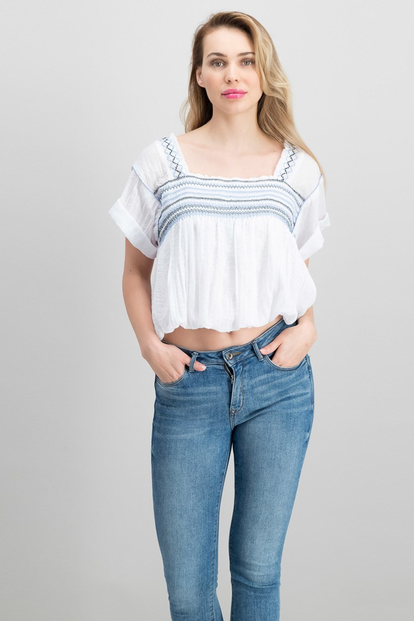 Wandering Skies Embroidered Blouse, White