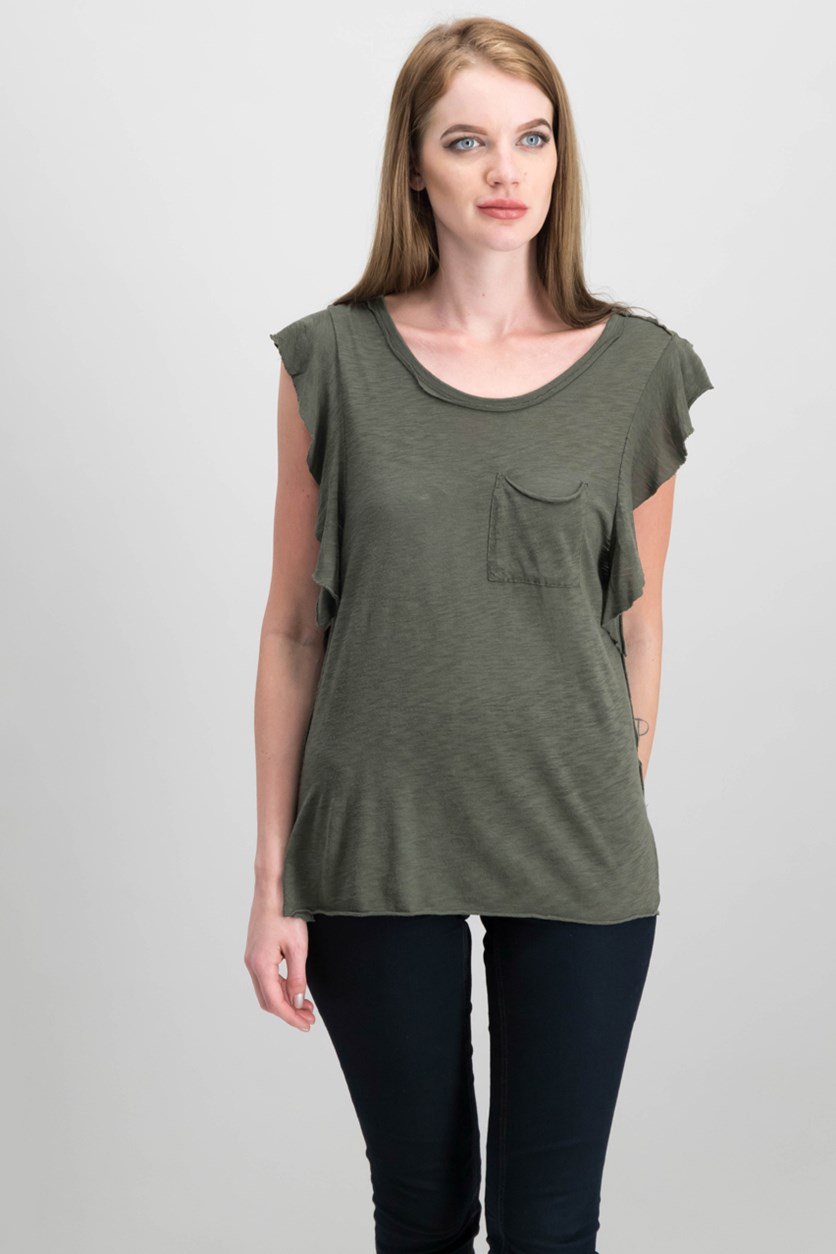 Women's So Easy Flutter-Sleeve T-Shirt, Moss