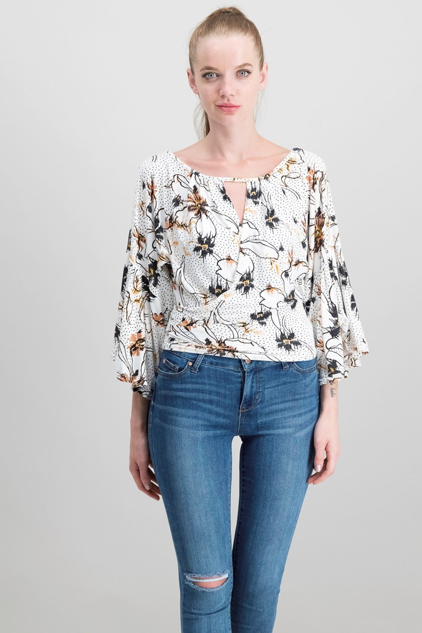 Last Time Draped Bell-Sleeve Top, White