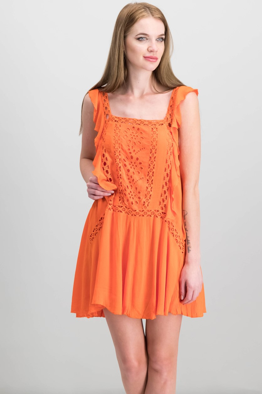 Priscilla Ruffled Crochet-Trim Minidress, Coral