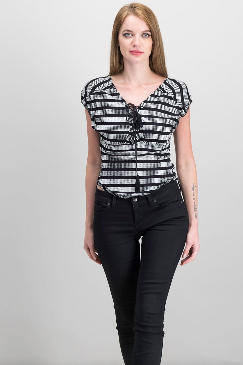 Sail Out Striped Lace-Up Top, Black Combo