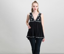 Free People Embroidered Sleeveless Top, Black