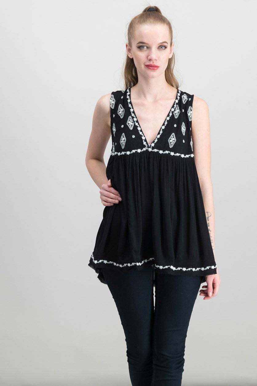 Embroidered Sleeveless Top, Black