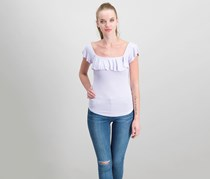Free People Last Call Ribbed Flounce Top, Lilac