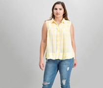 Free People Women's Hey There Sunrise Button Down Top, Yellow