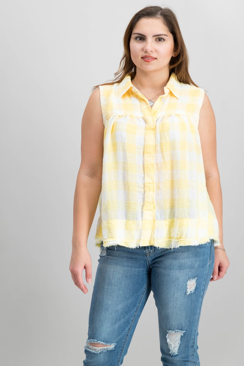 Women's Hey There Sunrise Button Down Top, Yellow