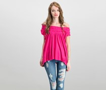 Free People Coconut Ruffled T-Shirt, Hot Pink