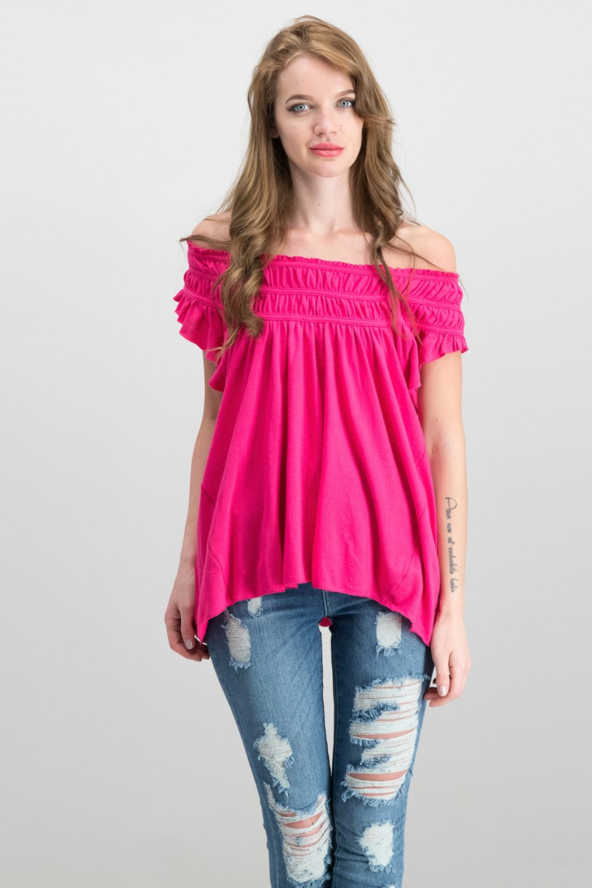 Coconut Ruffled T-Shirt, Hot Pink