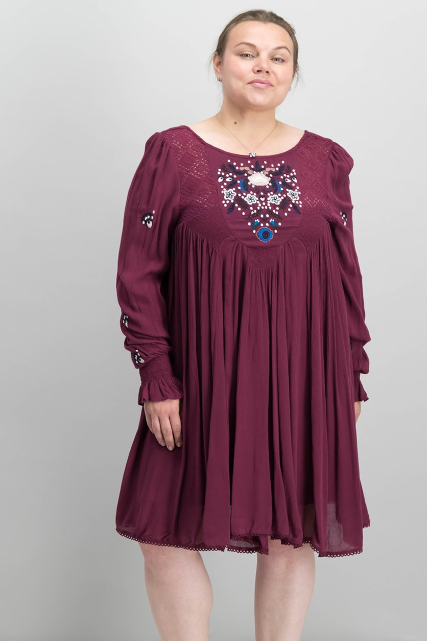 Mohave Mini Shift Dress, Plum