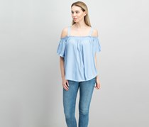 Free People Darling Off-The-Shoulder Top, Sky