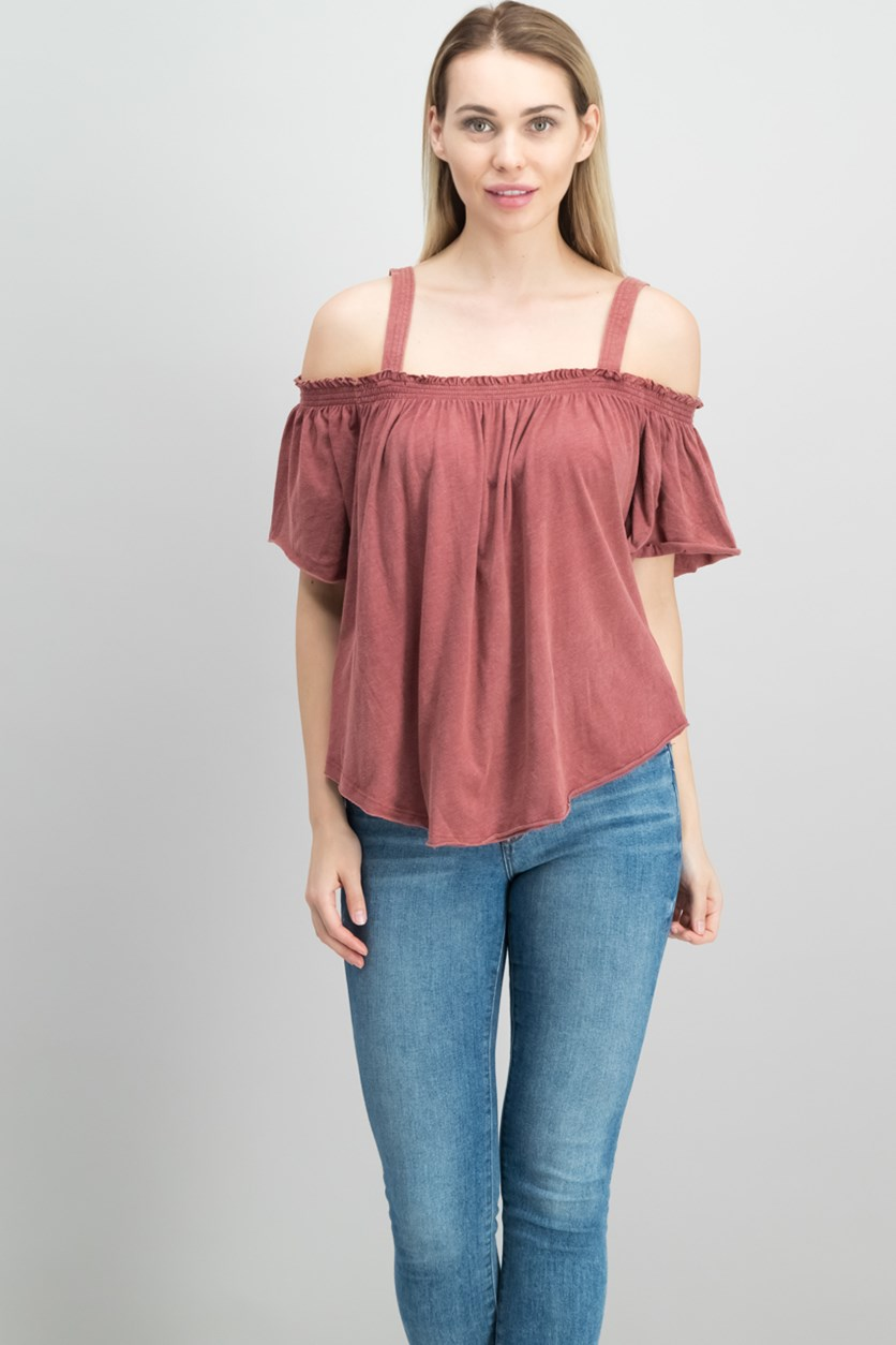 Darling Off-The-Shoulder Top, Bright Red