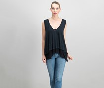 Free People Peachy Cotton Layered-Look Top, Black