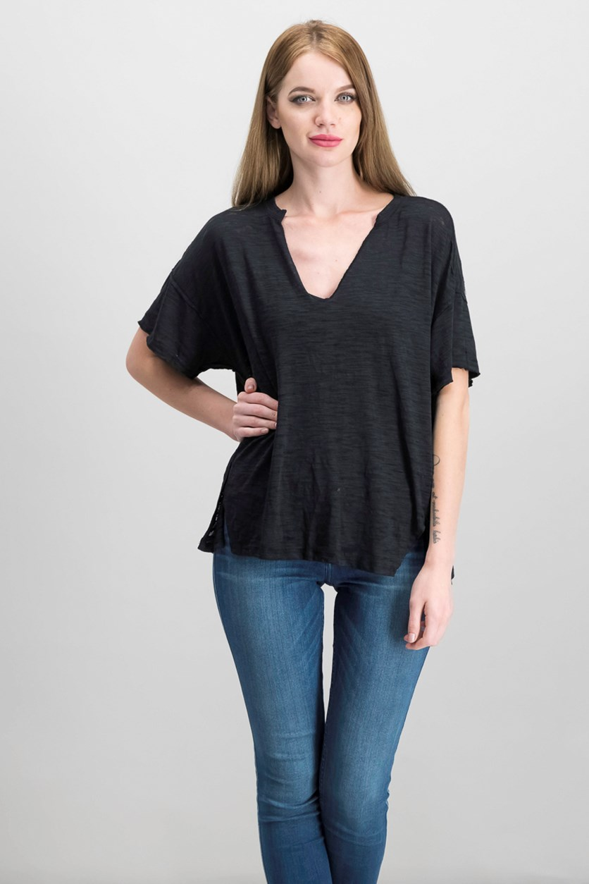 Women's Maddie Oversized Burnout T-Shirt, Black