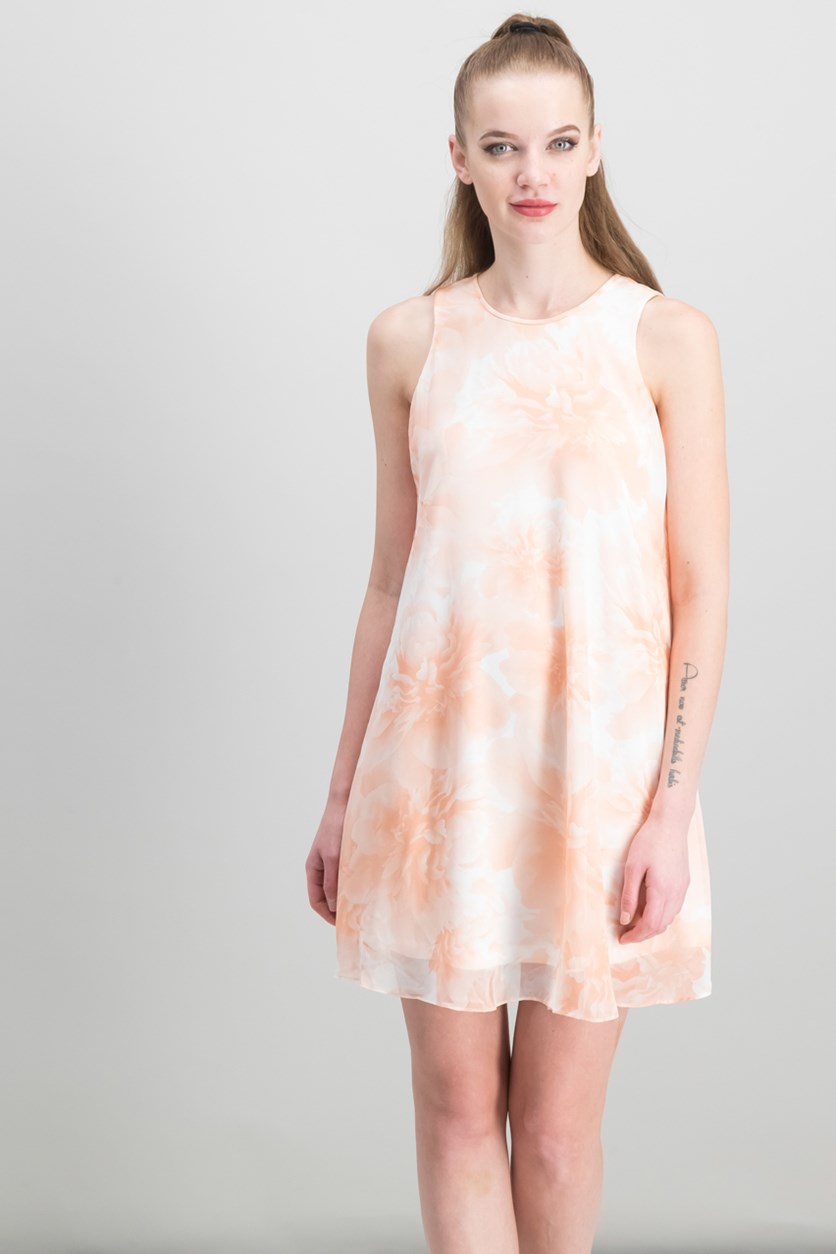 Petite Floral-Print Trapeze Dress, Peach