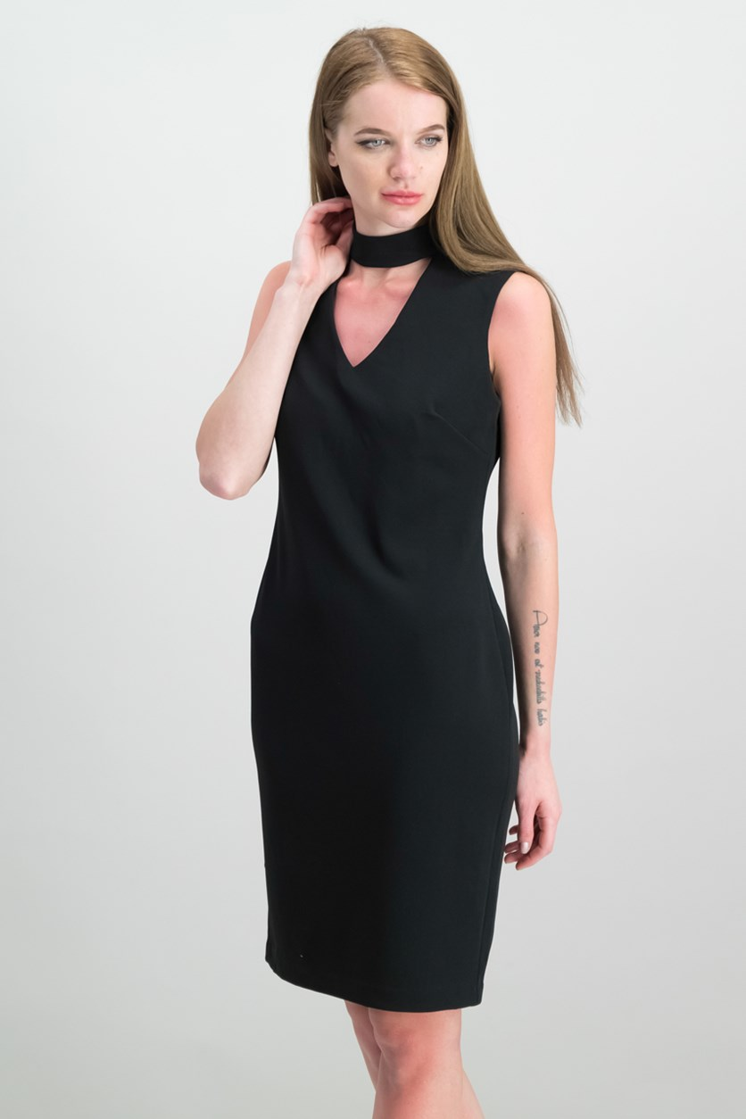 Scuba Crepe Keyhole Sheath Dress, Black