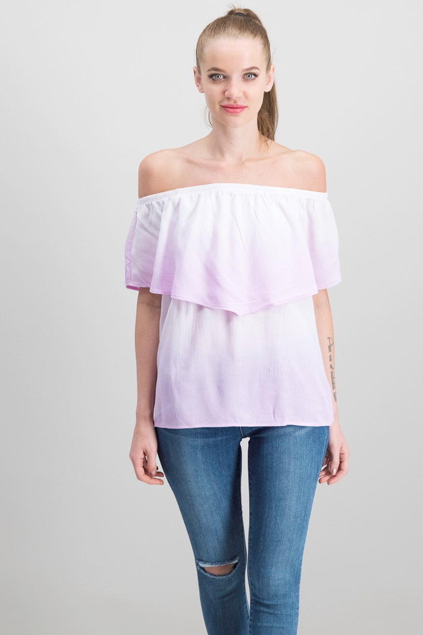 Juniors' Off-the-Shoulder Flounce Top, Orchid Ombre