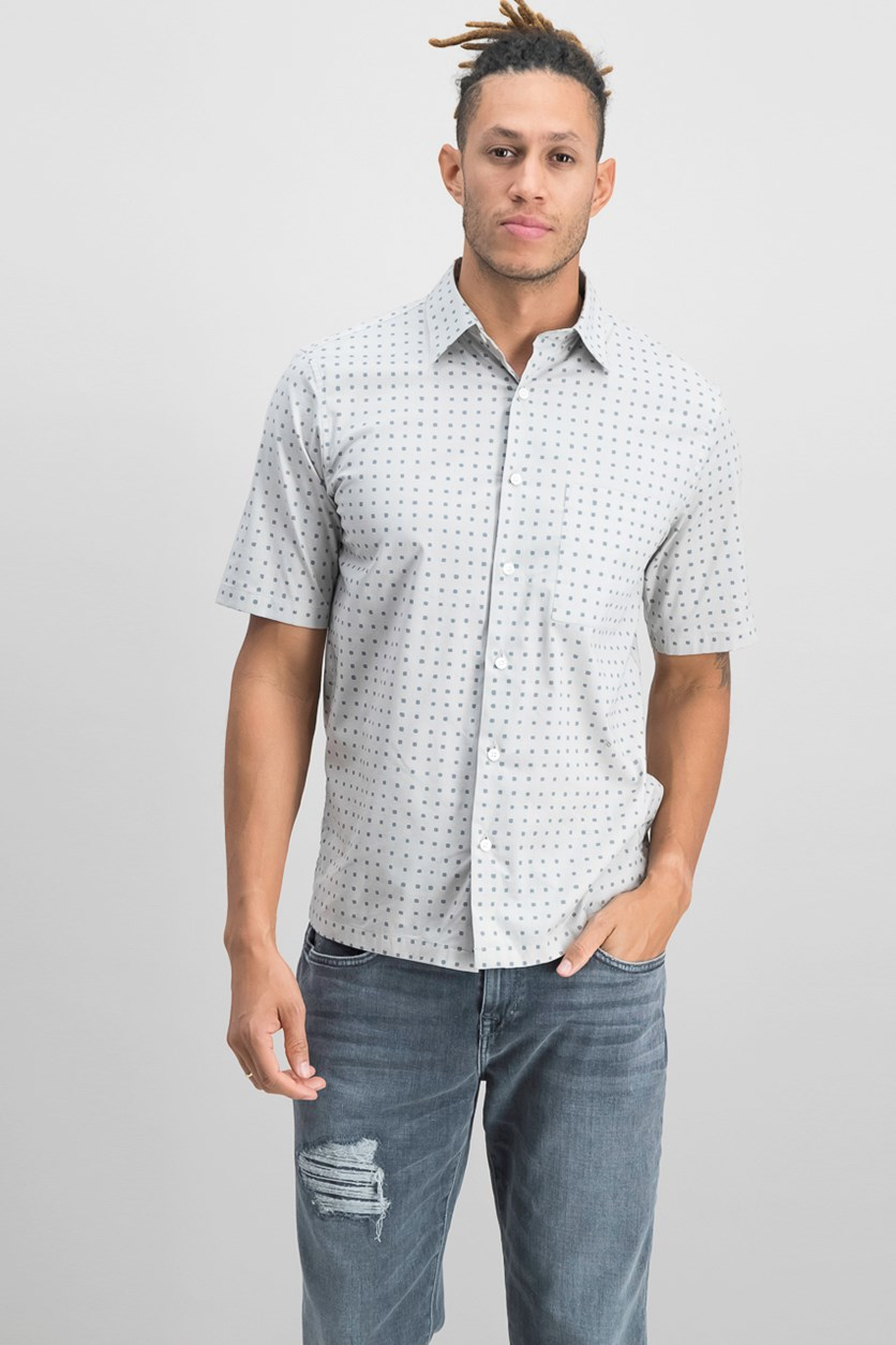 Men's Short Sleeve Dot Print Shirt, Gray