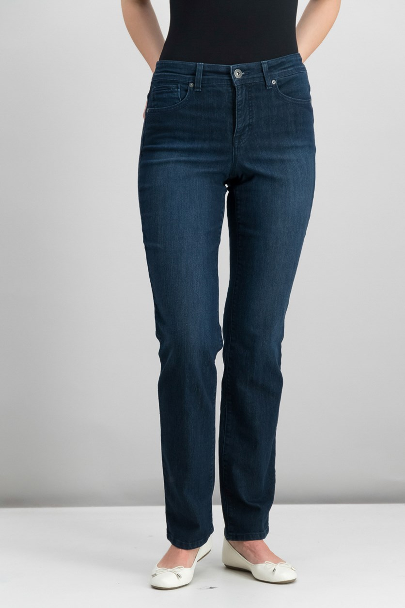 Womens Tummy-Control Straight-Leg Jeans, Caneel