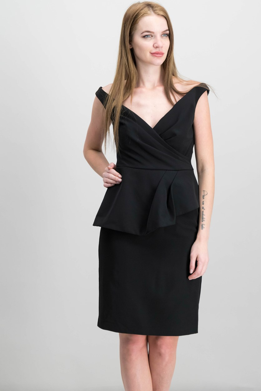Lauren Ralph Lauren Peplum Crepe Dress, Black