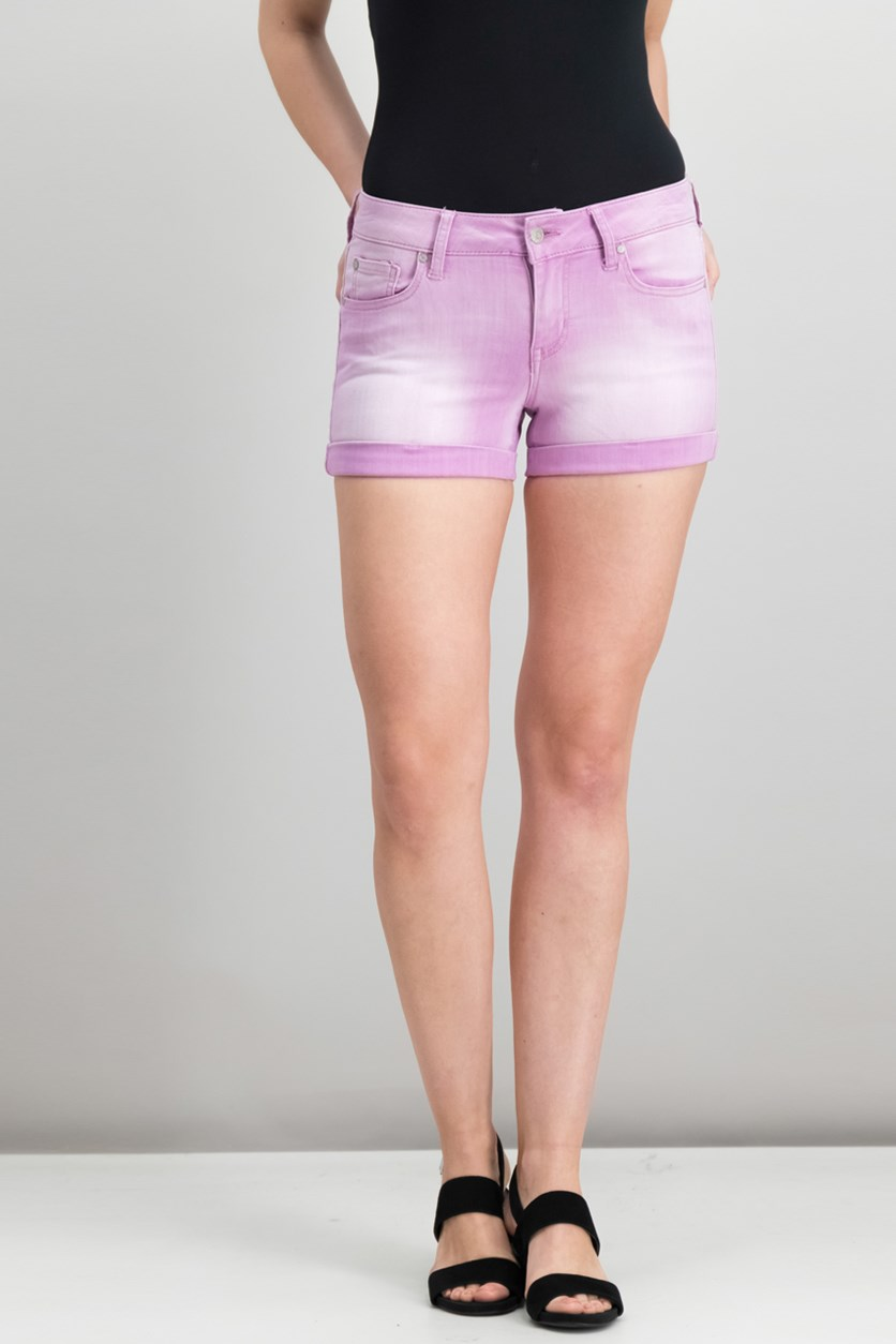 Juniors Cuffed Denim Shorts, Orchid Light
