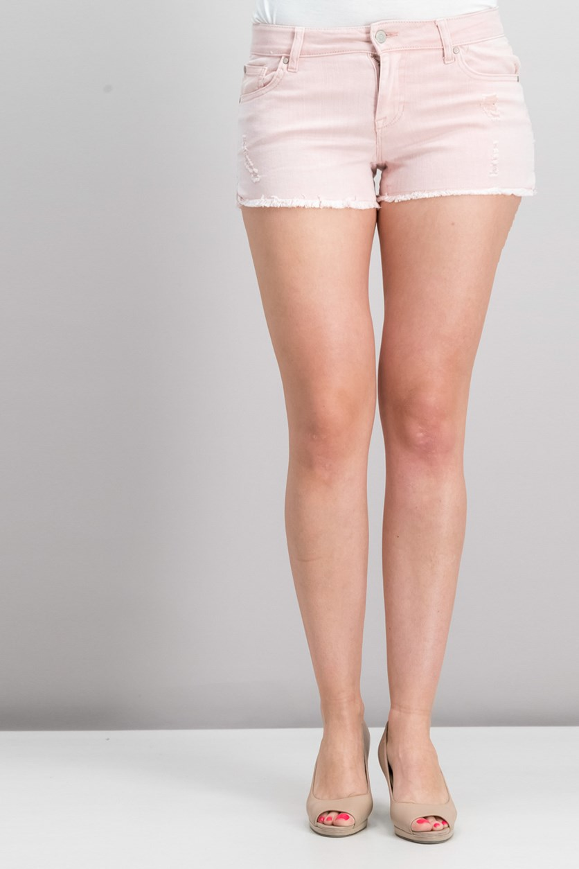 Juniors' Colored Cutoff Denim Shorts, Pink