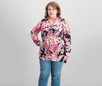 Jade Floral-Print Button-Down Top, Pink Combo