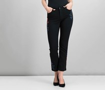 Charter Club Petite Embroidered Straight-Leg Jeans,  Saturated Black