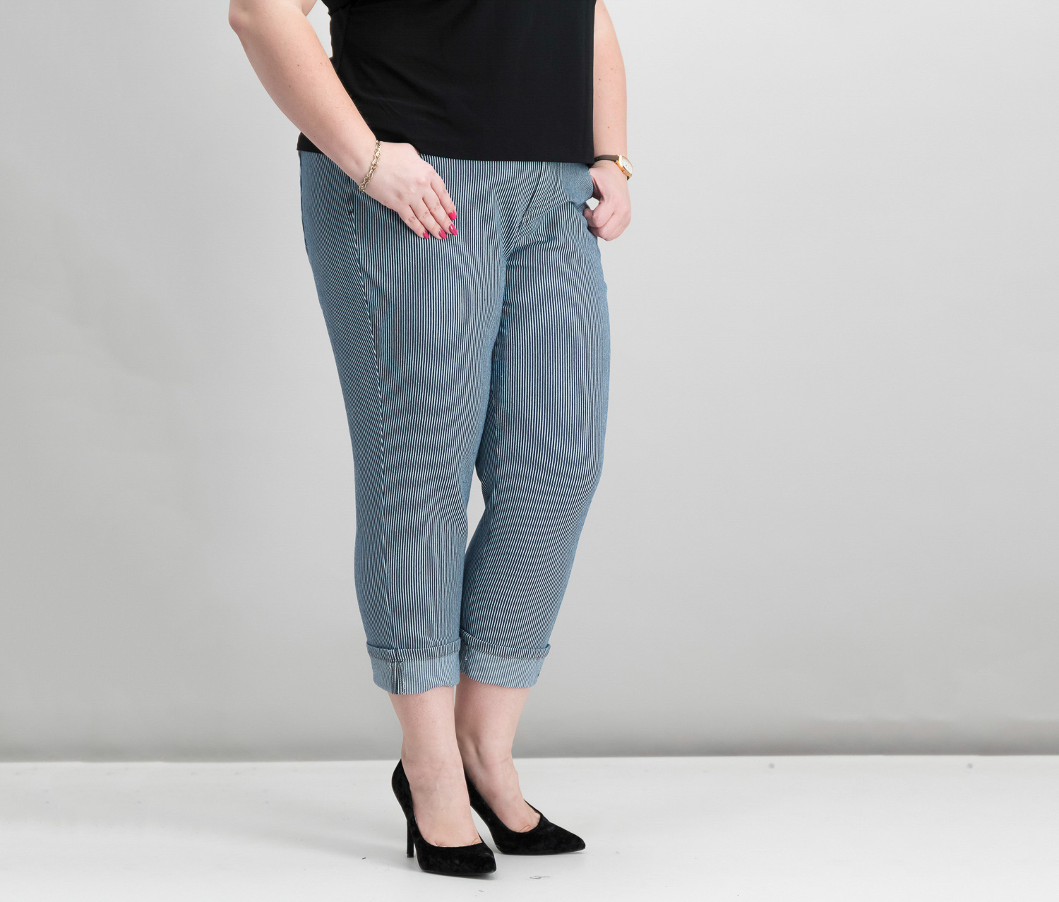 Plus Size Cuffed Capri Jeans, Railroad Stripe