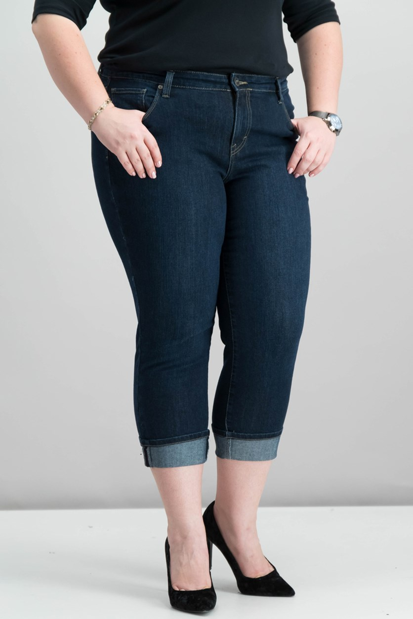 Style Co Plus Size Cuffed Capri Jeans, Caneel