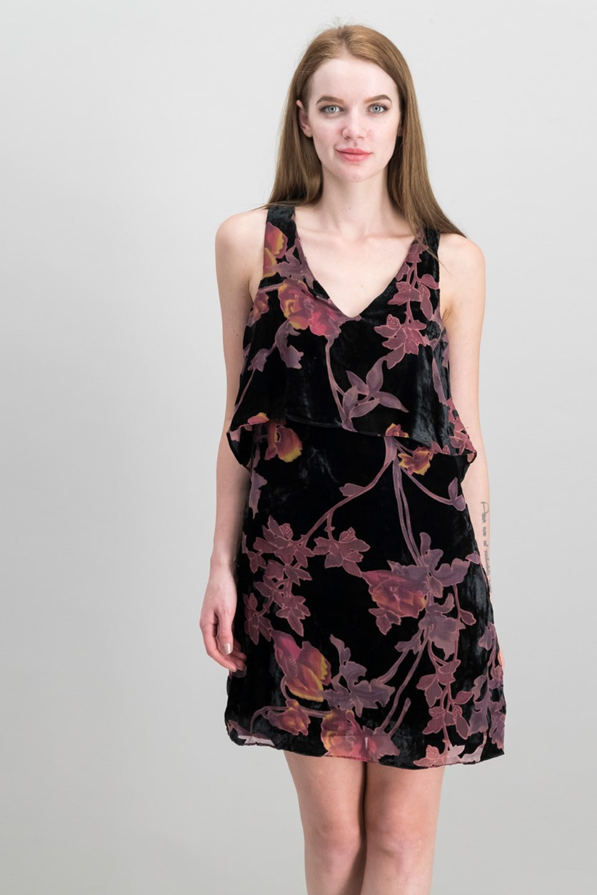 Velvet Popover Shift Dress, Black Combo