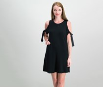Cold-Shoulder Shift Dress, Black