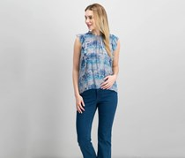 Lucky Brand Woven Printed Pullover Top, Blue Combo
