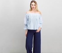 Lucky Brand Cotton Off-The-Shoulder Eyelet Top, Blue