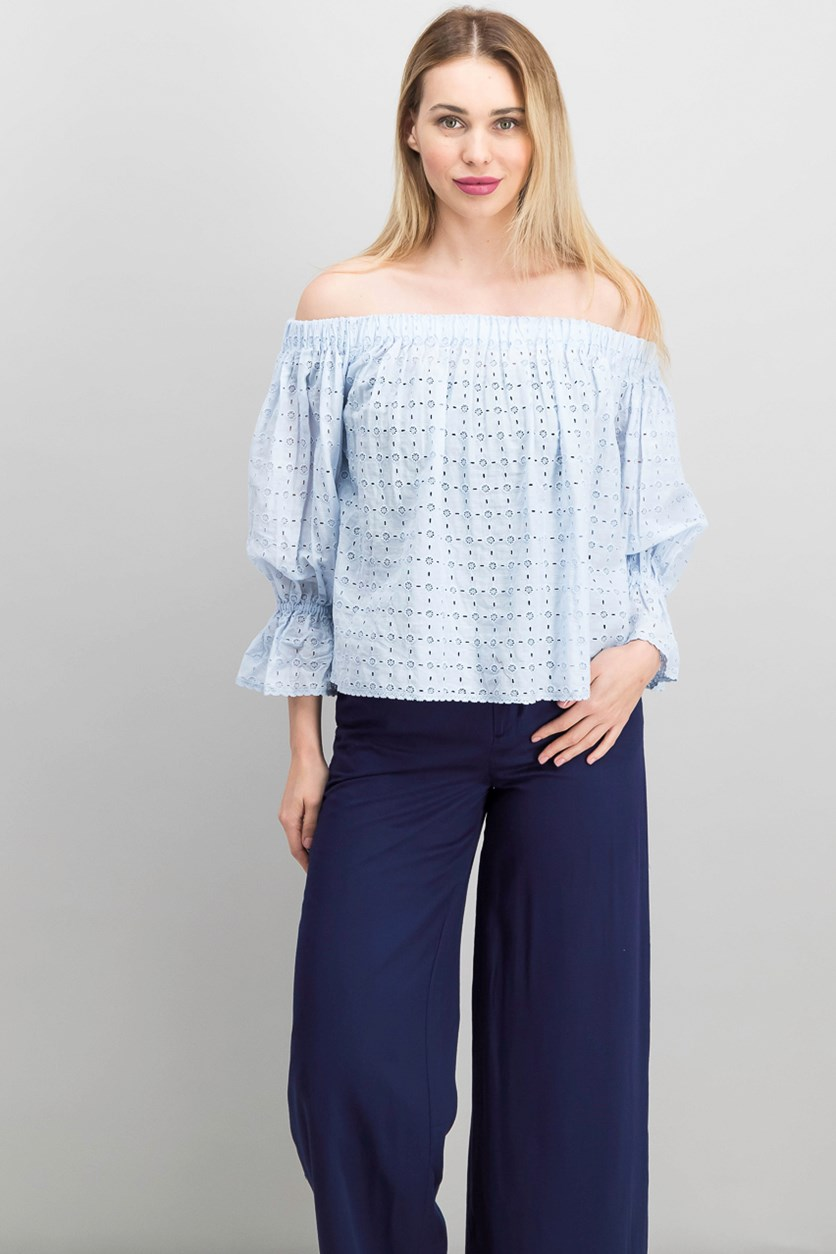 Cotton Off-The-Shoulder Eyelet Top, Blue