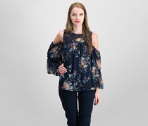 Lucky Brand Cold-Shoulder Bell-Sleeve Blouse, Navy