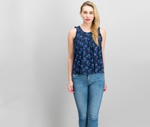 Lucky Brand Women's Floral Print Top, Navy